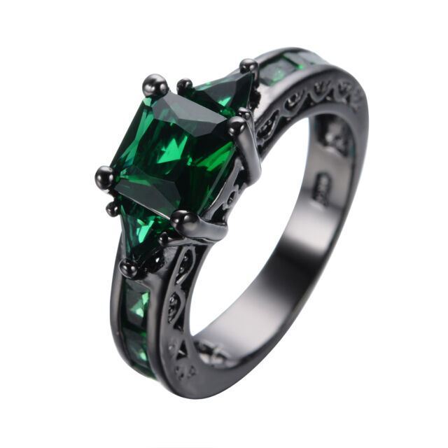 Princess Green Emerald Ring 10Kt Black Gold Filled Engagement & Wedding Jewelry
