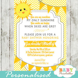 Details About You Are My Sunshine Baby Shower Invitation For Boys Printable Digital File