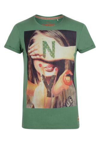 EDC Esprit New Mens NYC Babe T-shirt Graphic Photo Girl Print Grey Green Cotton
