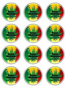 Cannabis Leaf Marijuana Edible Icing Birthday Cupcake