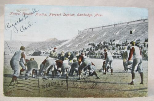 1907 ANNUAL FOOTBALL PRACTICE HARVARD STADIUM Cambridge Mass. postcard
