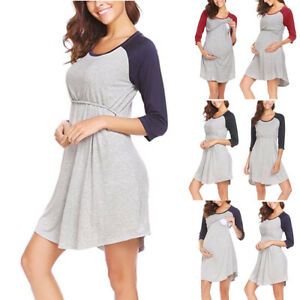 eeab42e7d14 Image is loading Pregnant-Women-Nursing-Dresses-Maternity-Loose-Short-Dress-