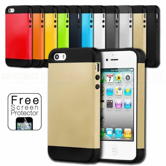 Slim Hard Armor & Soft Gel Case Cover For Apple iPhone 4S 4