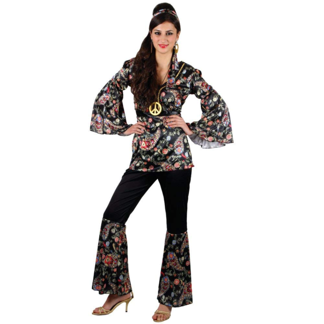 Womens Adult 1960s 70s Peace Lovin Hippie Fancy Dress Costume Full Outfit