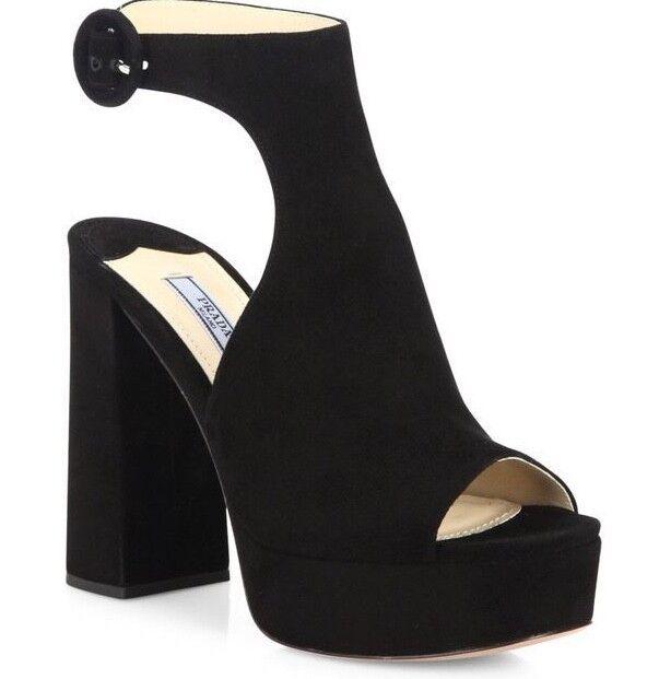 NIB Prada Black Suede Cut Out Ankle Strap Peep Platform Sandal Heel Pump 39.5