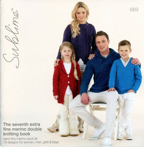 Sublime 669 The Seventh Extra Fine Merino Double Knitting Book Men Women Kids