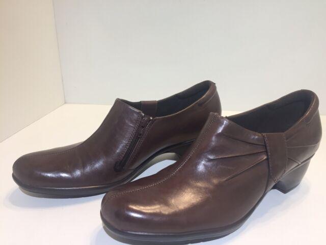 Clarks Women's Brown Leather Side Zip Heel Shoes/Booties Size 11 M