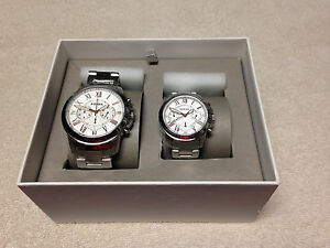 39a8a717c39e FOSSIL HIS   HERS MATCHING STAINLESS 2 TONE CHRONO WATCHES GIFT SET ...