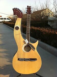 Details about Free Padded Bag, Harp Guitar, Acoustic Electric Double Neck  Guitar