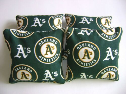 OAKLAND ATHLETICS CORNHOLE BEAN BAGS SET OF 4 TOP QUALITY TOSS GAME