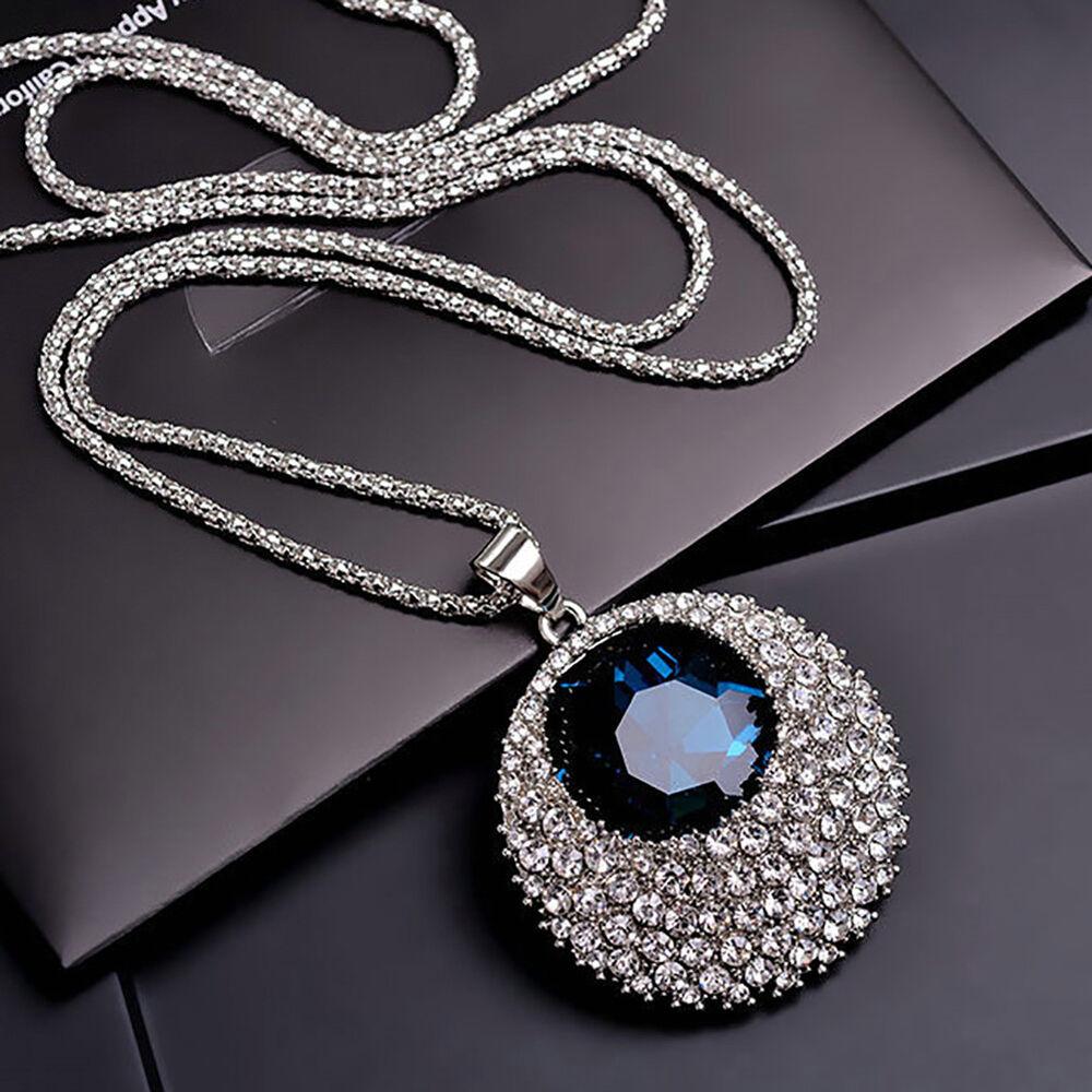 Women Rhinestone Round Pendant Long Chain Necklace Sweater Jewelry Gift Well Fashion Jewelry