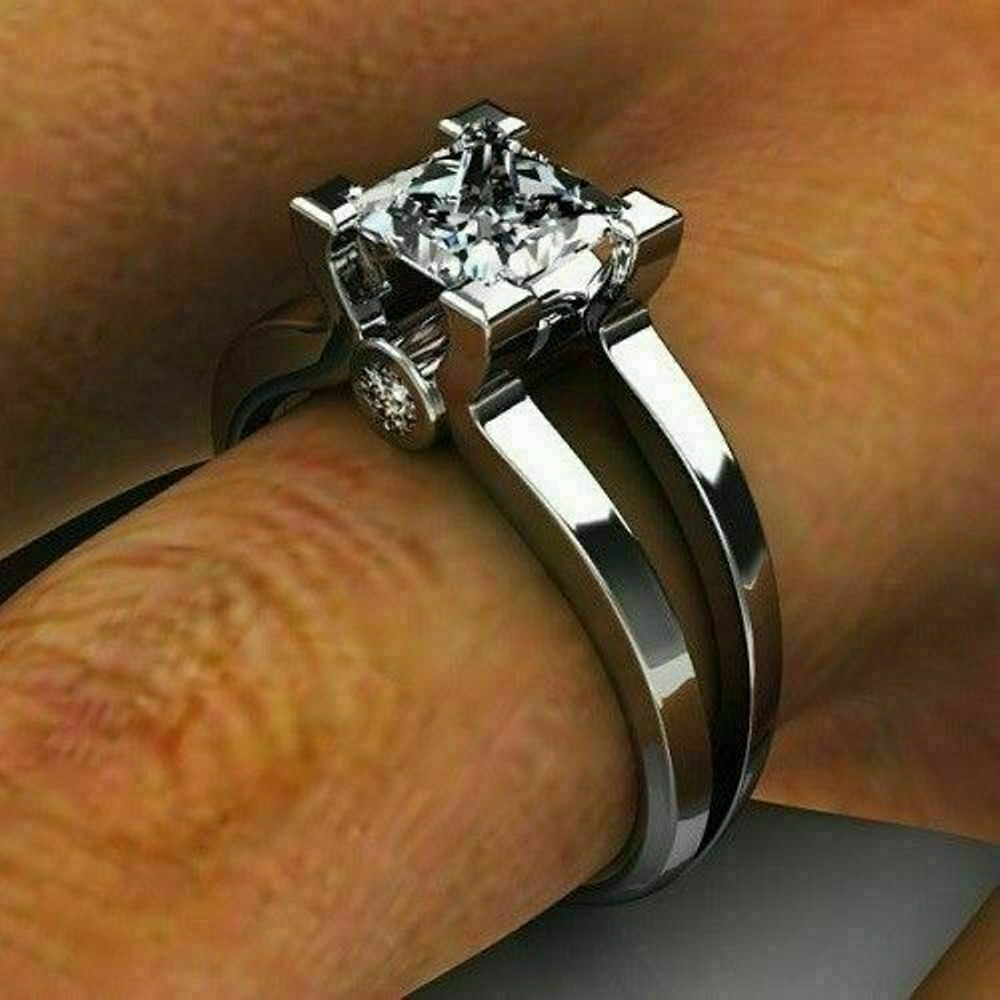 1.25 Ct Princess Diamond Solitaire Wedding Engagement Ring 14K White Gold Over 3