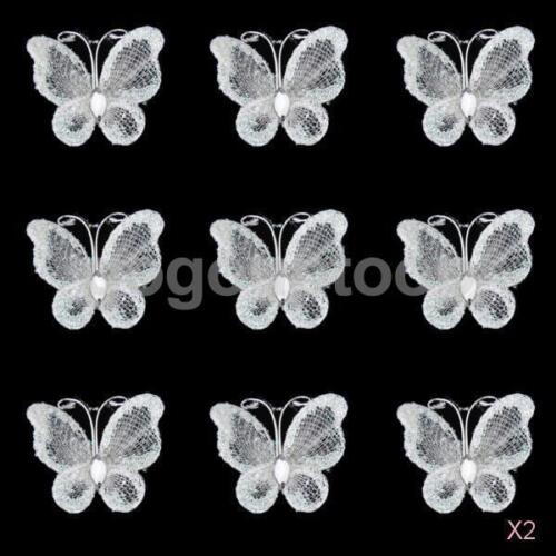 100pcs White Glitter Mesh Stocking Diamante Butterfly Wedding Craft Decoration