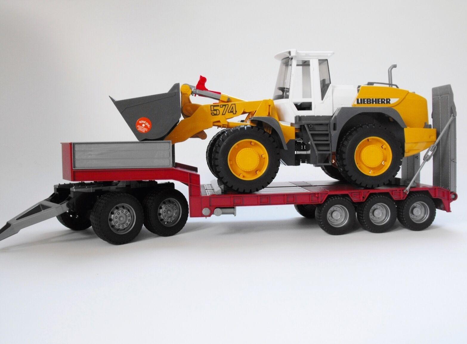 Bruder Tieflader  mit Dolly + Radlader Liebherr 02430 Bworld auch für Traktoren