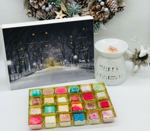 24 Jour de Noël barre de chocolat Très parfumée 100/% Soy Cire Fondre Advent Calendar