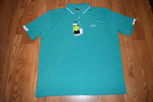 NWT-Mens-CALLAWAY-Short-Sleeve-Columbia-Green-Stretch-Polo-Shirt-Size-L-Large