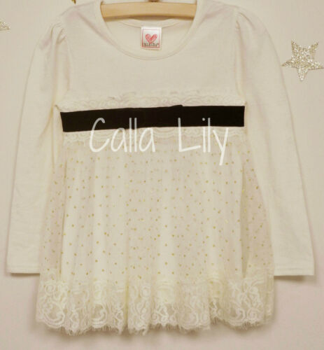 12M-5 Girl/'s Long Sleeve Top w// Lace /& Mesh Overlay Size Ivory