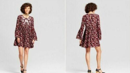 Embroidered Babydoll Shift Dress Xhilaration Plum Sizes XS /& S Juniors/' Womens