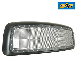 02-05-Dodge-Ram-Grill-Rivet-Stud-Black-Stainless-Steel-Wire-Mesh-Grille-W-Shell