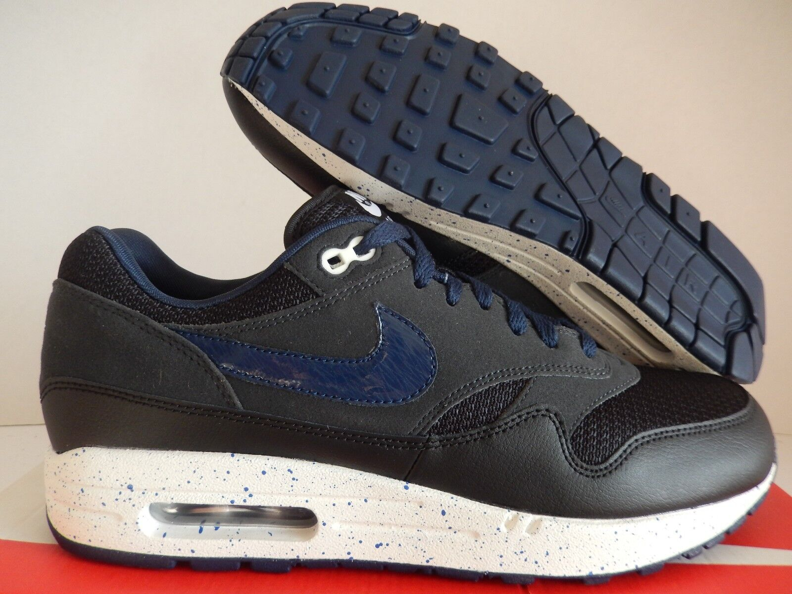NIKE AIR MAX 1 ID MESH BLACK-NAVY BLUE-WHITE SZ 10 MESH ID TOE! [943756-972] ba2096