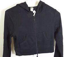 New NWOT Junior L Womens S  black zip crop hoodie jacket B=34