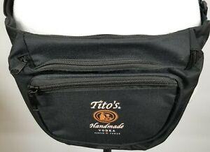 Tito's Handmade Vodka Black Triple Zip Compartment Buckle Strap Fanny Pack New