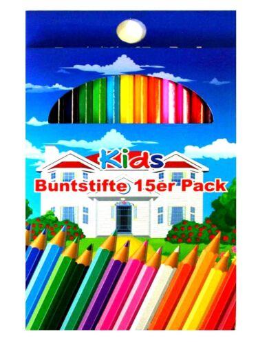 2x 15 Stück Buntstifte mit 15 FarbenMalstifteKinderstifteZeichenstifte