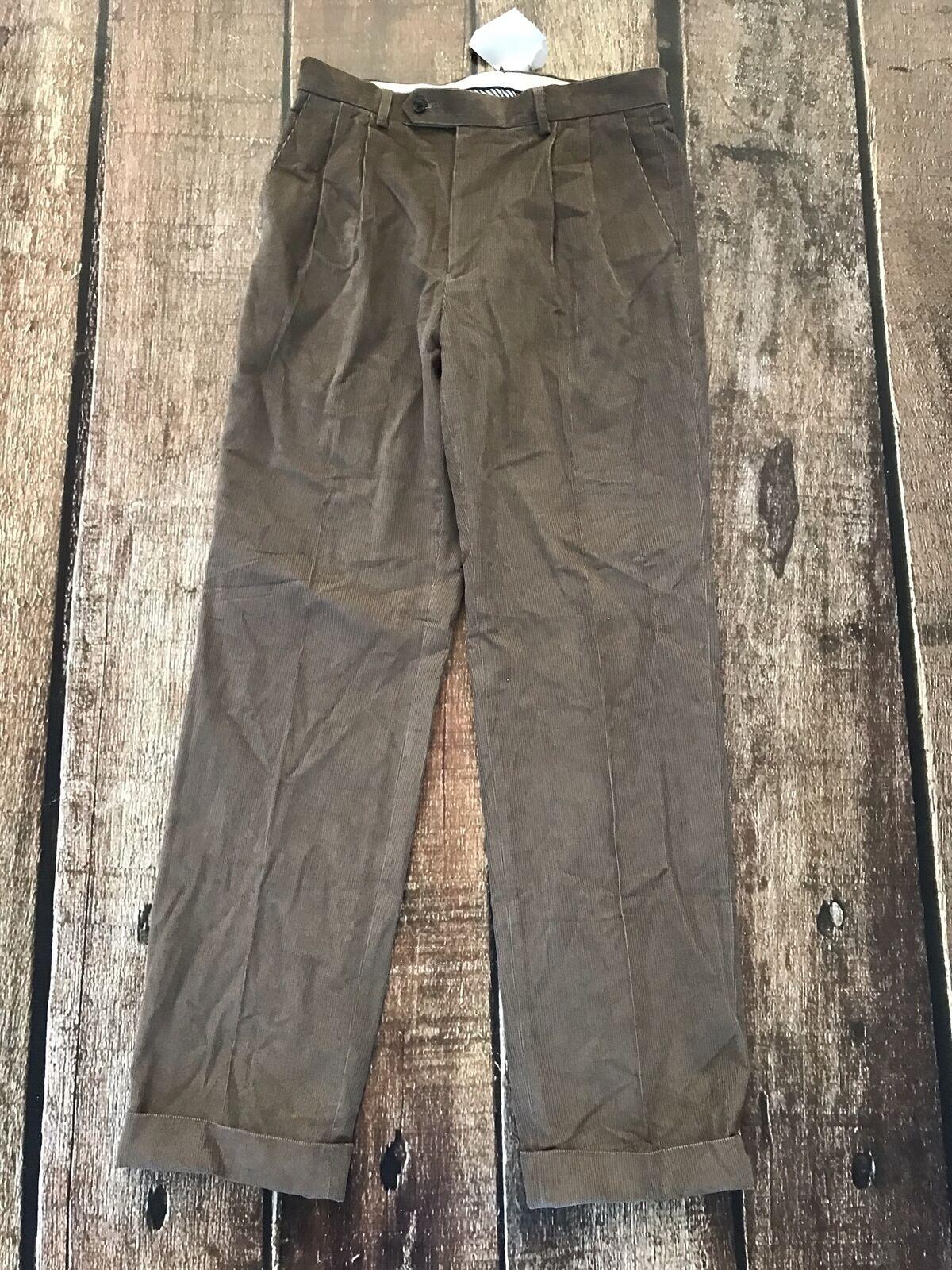 Lauren Ralph Lauren Pleated Corduroy Cuffed Dress Pants Tan Mens 38x29 New