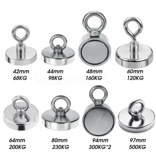 230//500KG  Neodymium Recovery Magnet Strong Metall D80//D97mm Detector Treasure