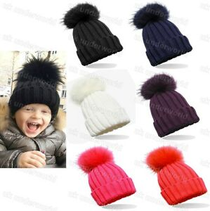 5d5e1acf6 Childrens Boys Girls Ribbed Chunky Knitted Beanie Bobble Hat With ...