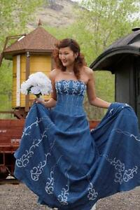 Forever In Blue Jeans Denim Western Wedding Corset Wedding Dress | eBay