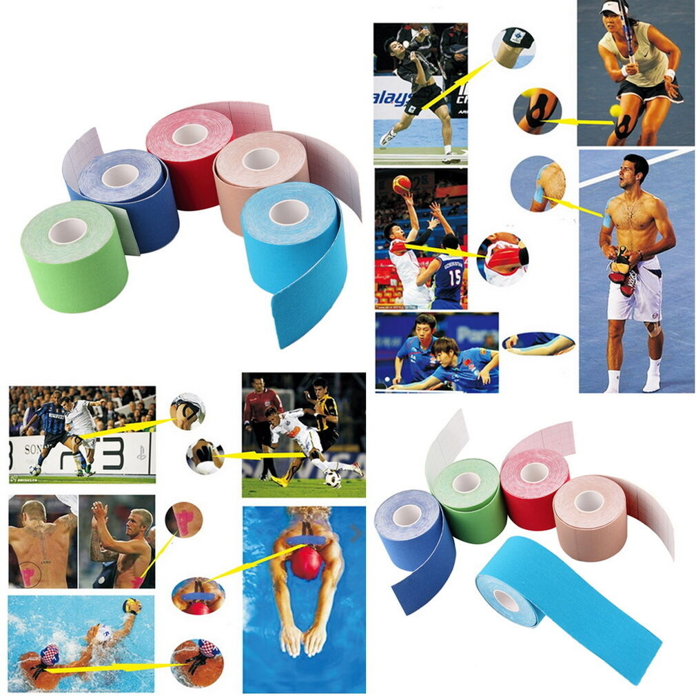 1 Roll 5m x 5cm Kinesiology Sports Muscles Care Elastic Physio Therapeutic T c0
