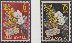 (17)MALAYSIA 1963 WORLD ORCHIDS CONFERENCE SET 2V FRESH MNH. CAT RM 20