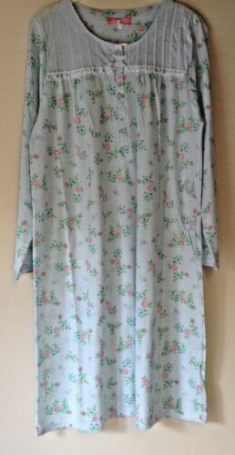 NEW LADIES POLY//COTTON JERSEY NIGHTDRESS LONG SLEEVE BUTTON FRONT NIGHTIE