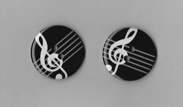 2 X MUSICAL NOTE BUTTONS  25mm (1 INCH) DIA.- SIZE 40 - FASHION, CRAFTS, SEWING.