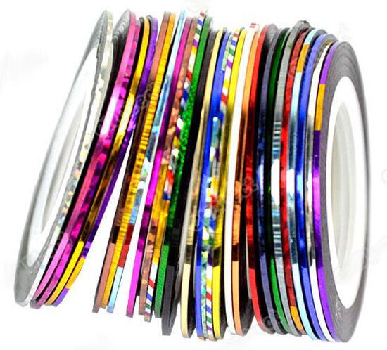 30Pcs Mixed Colors Pretty Rolls Striping Tape Line Nail Art Decoration Sticker
