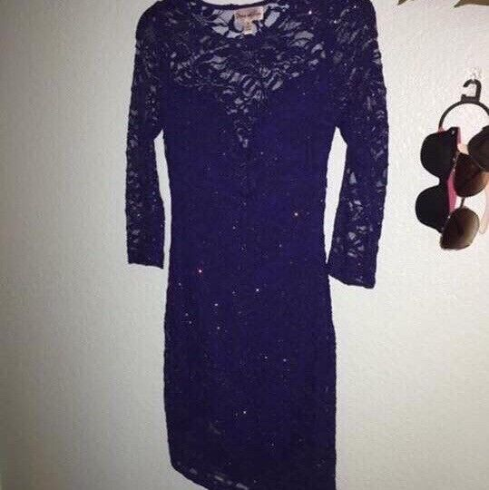 0a135d2a272 ... bluee Sparkly Lace Homecoming Homecoming Homecoming Dress Size Small  Long Sleeve 8926e7 ...