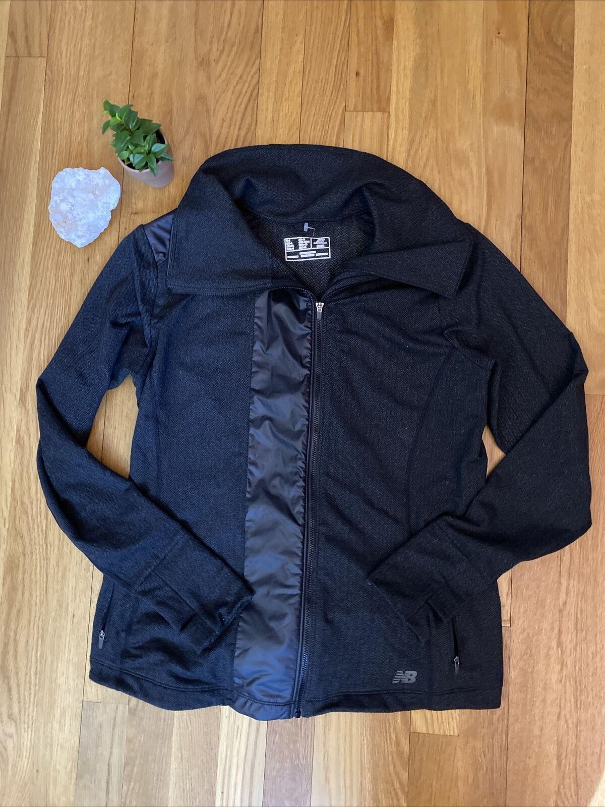 New Balance Womens Large Gray Light Chevron Active Jacket Polyester Nylon