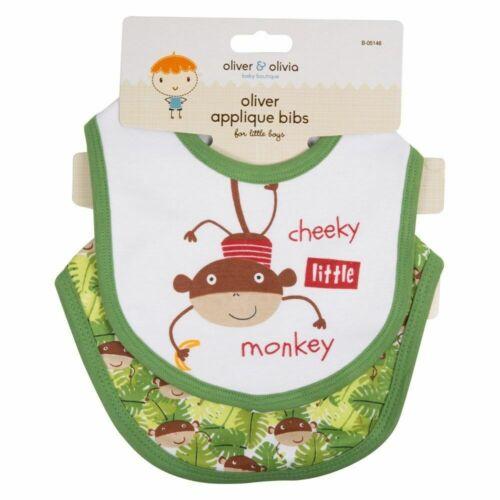 cm Cheeky pequeño mono verde 29x2x23 2Pk bebé niño chicos Algodón Drible Baberos