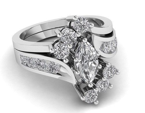2Ct Marquise Stone Bridal Engagement Ring Set 925 Sterling Silver in Yellow tone