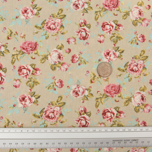 FLORAL ROSE IN BLOOM! 100/% CRAFT COTTON CANVAS PRINTED FABRIC