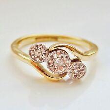 Stunning Antique Edwardian 18ct Gold Diamond Trilogy Ring c1910; UK Size 'K'