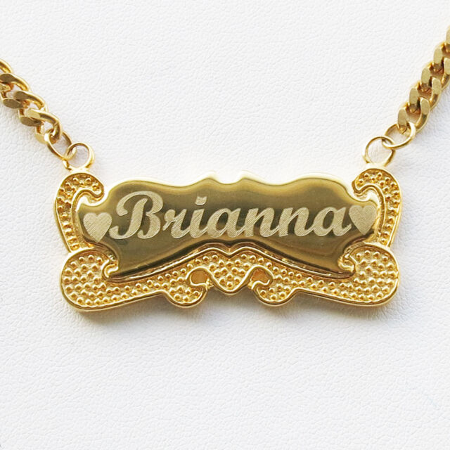 Personalized 18K Gold Plated Name Plate Chain Necklace with any Name and  Chain