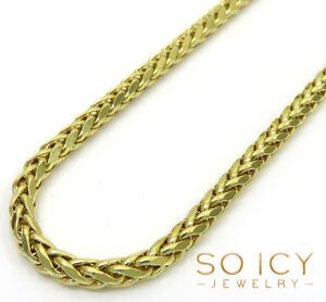 24-034-Inch-6-Grams-2-5mm-10k-Yellow-Gold-Wheat-Spiga-Chain-Necklace-Mens-Ladies