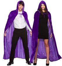 Deluxe Purple Velvet Hooded Cape Medieval Halloween Cloak Men Ladies Fancy Dress