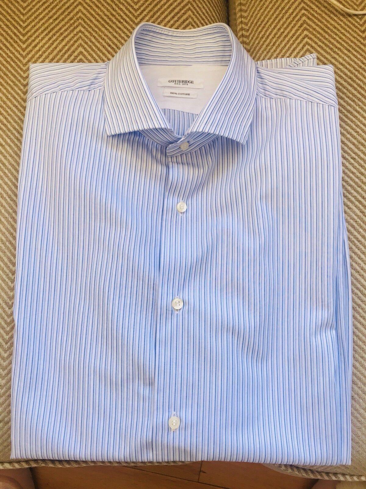 ITALIAN GUTTERIDGE 100% cotton men's long sleeves striped shirt size 42 ( 16.5 )