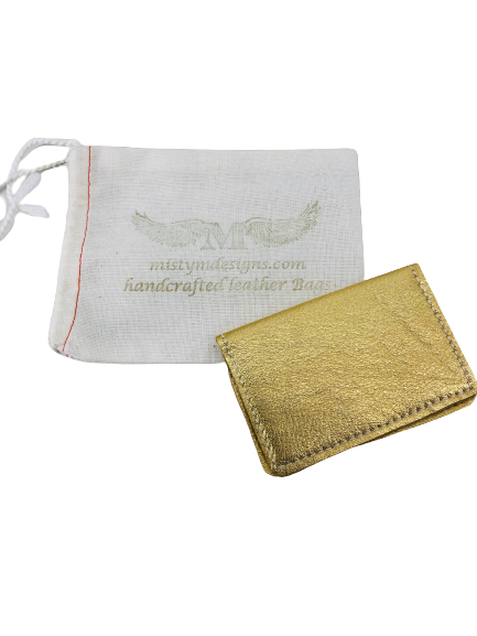 Misty M Designs Handcrafted Leather Bifold Wallet Metallic Gold In Bag Boho