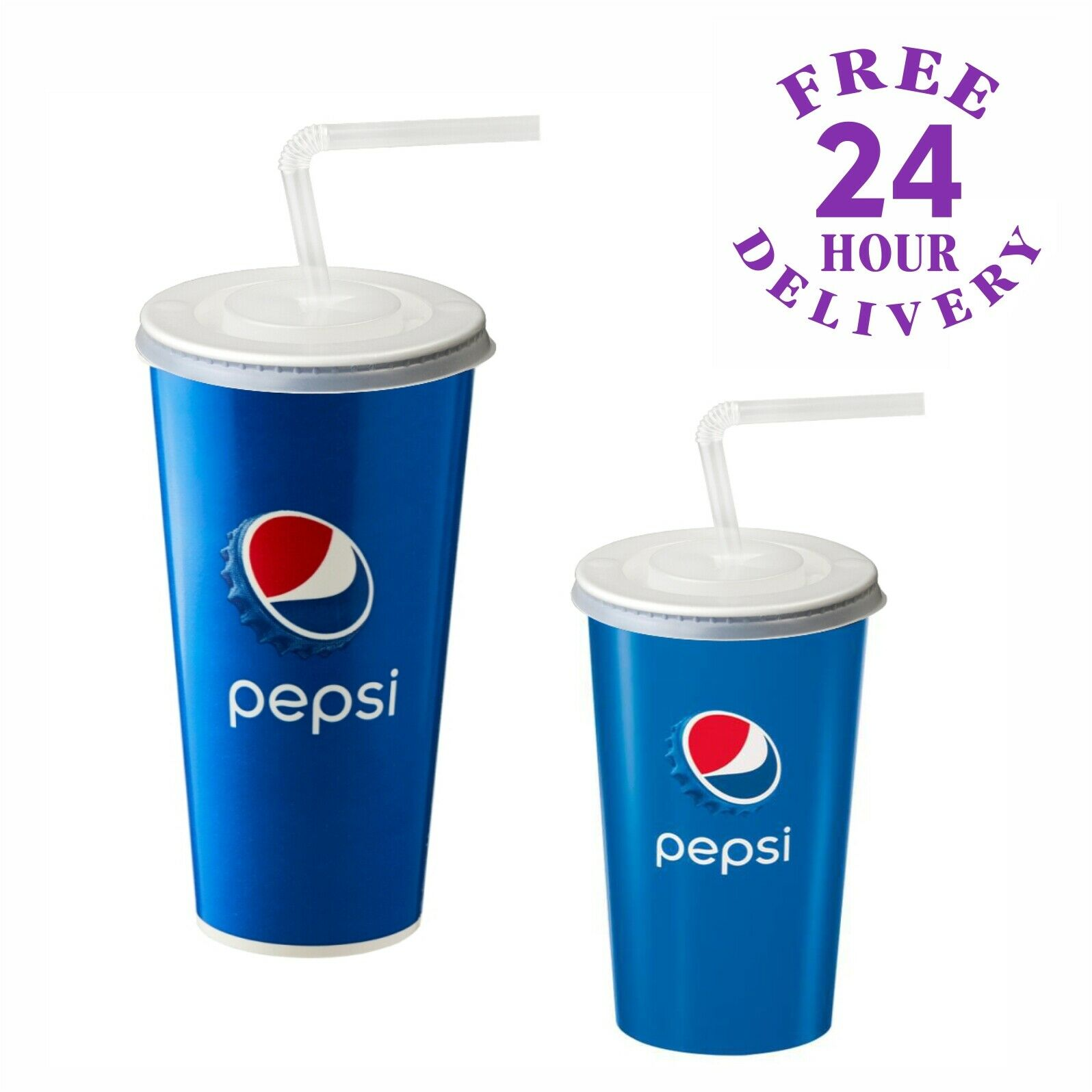 500 x 9oz Pepsi Paper Cups With Lids & Straws - Cold Drinks Cup Fizzy Coca Cola