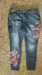 Nine-West-Gramercy-Skinny-Floral-Embroidered-Jeans-Sz-8-30-x-29