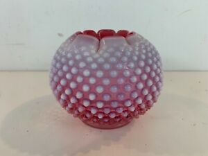 Vintage-Likely-Fenton-French-Cranberry-Opalescent-Hobnail-Glass-Globe-Vase